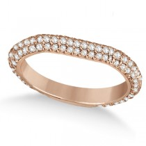 Eternity Pave Set Trio Diamond Wedding Band 18k Rose Gold (0.75ct)