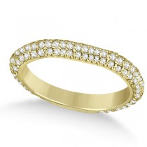 Eternity Pave Set Trio Diamond Wedding Band 18k Yellow Gold (0.75ct)