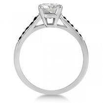 Cathedral Pave Black Diamond Engagement Ring 14k White Gold (0.20ct)