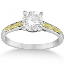 Cathedral Pave Yellow Diamond Engagement Ring 14k White Gold (0.20ct)