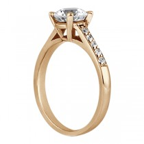 Cathedral Pave Diamond Engagement Ring Setting 18k Rose Gold (0.20ct)