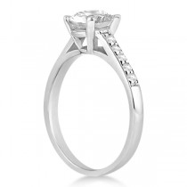Cathedral Style Round Diamond Engagement Ring 14k White Gold (0.50ct)