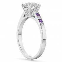 Cathedral Amethyst & Diamond Engagement Ring 14k White Gold (0.20ct)