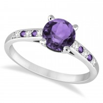 Cathedral Amethyst & Diamond Engagement Ring 18k White Gold (1.20ct)