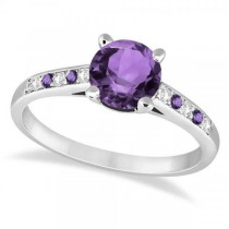 Cathedral Amethyst & Diamond Engagement Ring Palladium (1.20ct)
