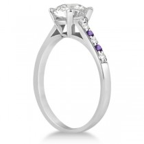 Cathedral Amethyst & Diamond Engagement Ring Palladium (0.20ct)