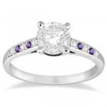 Cathedral Amethyst & Diamond Engagement Ring Platinum (0.20ct)