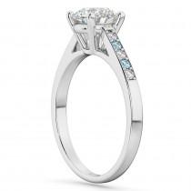Cathedral Aquamarine & Diamond Engagement Ring 14k White Gold (0.20ct)
