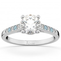 Cathedral Aquamarine & Diamond Engagement Ring 18k White Gold (0.20ct)