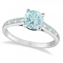 Cathedral Aquamarine & Diamond Engagement Ring Palladium (1.20ct)