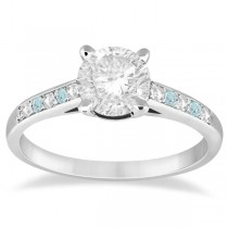 Cathedral Aquamarine & Diamond Engagement Ring Palladium (0.20ct)
