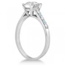 Cathedral Aquamarine & Diamond Engagement Ring Platinum (0.20ct)
