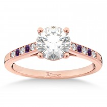 Cathedral Lab Alexandrite & Diamond Engagement Ring 18k Rose Gold (0.20ct)