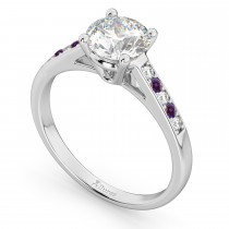 Cathedral Lab Alexandrite & Diamond Engagement Ring 18k White Gold (0.20ct)