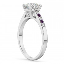Cathedral Pave Lab Alexandrite & Diamond Engagement Ring Platinum (0.20ct)