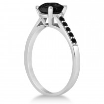 Cathedral Black Diamond Engagement Ring 18k White Gold (1.20ct)