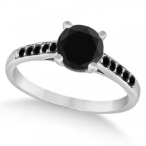 Cathedral Black Diamond Engagement Ring Palladium (1.20ct)