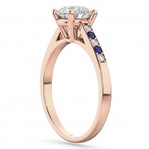 Cathedral Blue Sapphire & Diamond Engagement Ring 14k Rose Gold (0.20ct)