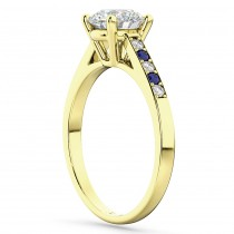 Cathedral Sapphire & Diamond Engagement Ring 14k Yellow Gold (0.20ct)