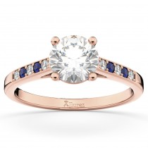 Cathedral Blue Sapphire & Diamond Engagement Ring 18k Rose Gold (0.20ct)