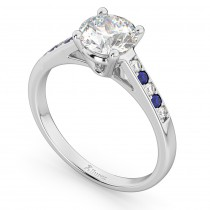 Cathedral Sapphire & Diamond Engagement Ring 18k White Gold (0.20ct)