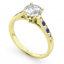 Cathedral Sapphire & Diamond Engagement Ring 18k Yellow Gold (0.20ct)