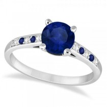 Cathedral Blue Sapphire & Diamond Engagement Ring Platinum (1.20ct)