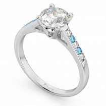 Cathedral Blue Topaz & Diamond Engagement Ring 14k White Gold (0.20ct)