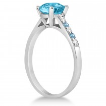 Cathedral Blue Topaz & Diamond Engagement Ring 14k White Gold (1.20ct)