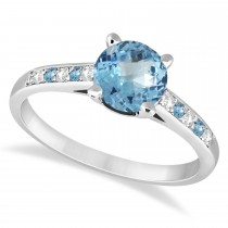 Cathedral Blue Topaz & Diamond Engagement Ring 18k White Gold (1.20ct)