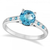 Cathedral Blue Topaz & Diamond Engagement Ring Platinum (1.20ct)