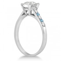 Cathedral Blue Topaz & Diamond Engagement Ring Platinum (0.20ct)