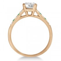 Cathedral Emerald & Diamond Engagement Ring 14k Rose Gold (0.20ct)