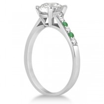 Cathedral Emerald & Diamond Engagement Ring 18k White Gold (0.20ct)