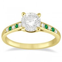 Cathedral Emerald & Diamond Engagement Ring 18k Yellow Gold (0.20ct)