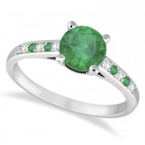 Cathedral Emerald & Diamond Engagement Ring 18k White Gold (1.20ct)