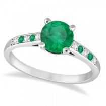 Cathedral Emerald & Diamond Engagement Ring Palladium (1.20ct)