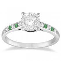 Cathedral Pave Emerald & Diamond Engagement Ring Platinum (0.20ct)