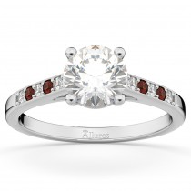Cathedral Garnet & Diamond Engagement Ring 14k White Gold (0.20ct)