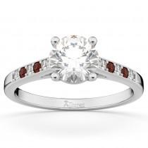 Cathedral Garnet & Diamond Engagement Ring 14k White Gold (0.20ct)