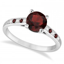 Cathedral Garnet & Diamond Engagement Ring 14k White Gold (1.20ct)