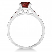 Cathedral Garnet & Diamond Engagement Ring 14k White Gold (1.20ct)