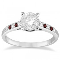 Cathedral Garnet & Diamond Engagement Ring Palladium (0.20ct)