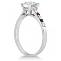 Cathedral Garnet & Diamond Engagement Ring Palladium (0.20ct)