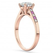 Cathedral Pink Sapphire & Diamond Engagement Ring 14k Rose Gold (0.20ct)