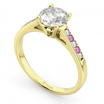 Cathedral Pink Sapphire & Diamond Engagement Ring 18k Yellow Gold (0.20ct)