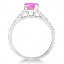Cathedral Pink Sapphire & Diamond Engagement Ring 14k White Gold (1.20ct)