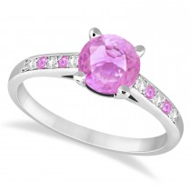 Cathedral Pink Sapphire & Diamond Engagement Ring 18k White Gold (1.20ct)