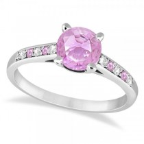 Cathedral Pink Sapphire & Diamond Engagement Ring Palladium (1.20ct)