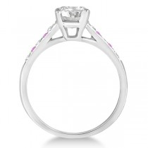 Cathedral Pink Sapphire & Diamond Engagement Ring Palladium (0.20ct)